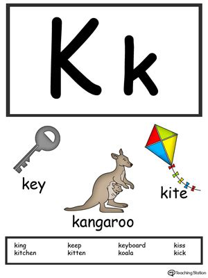 color starting with k letter k alphabet flash cards for preschoolers