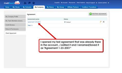 Credit Repair Agreement Sle Set Agreement 1 Credit Repair Cloud Credit Repair Software Crm