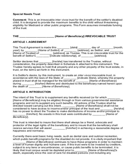 Sle Will And Trust Form 15 Free Documents In Pdf Special Needs Trust Template