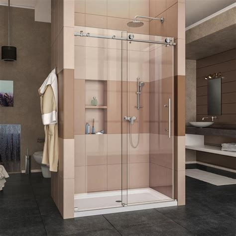48 frameless shower door shop dreamline enigma x 44 in to 48 in frameless brushed