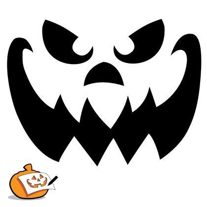 pumpkin carving template scary pumpkin face
