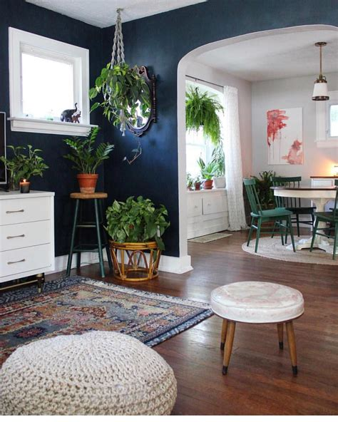 eclectic boho living room  dining room decor plants