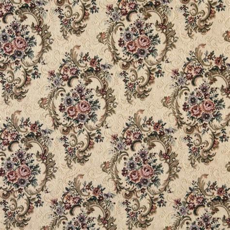 Green Burgundy And Beige Floral Tapestry Upholstery Fabric