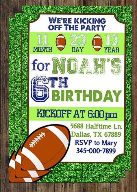 printable rugby birthday invitations printable football birthday party invitation personalized