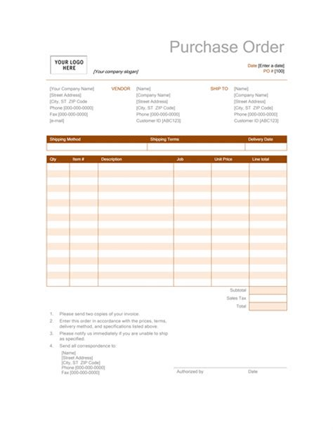 purchase order template microsoft excel invoices office