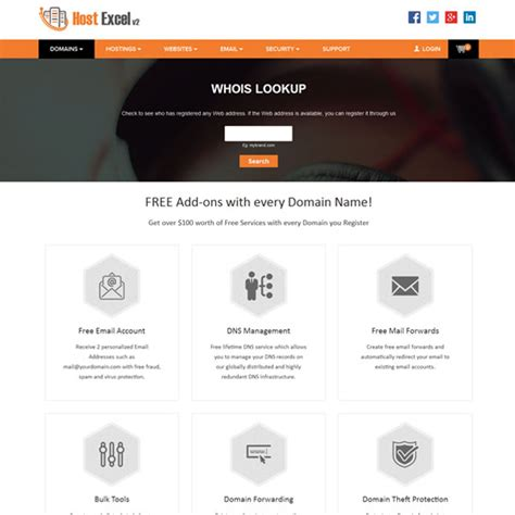 Free Whois Lookup Host Excel V2 Supersite 2 Theme Domain Reseller Website Theme