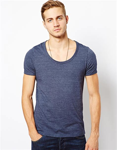 Branded Esprit Cut Paisley T Shirt Bright Blue asos t shirt with bound scoop neck in blue for lyst