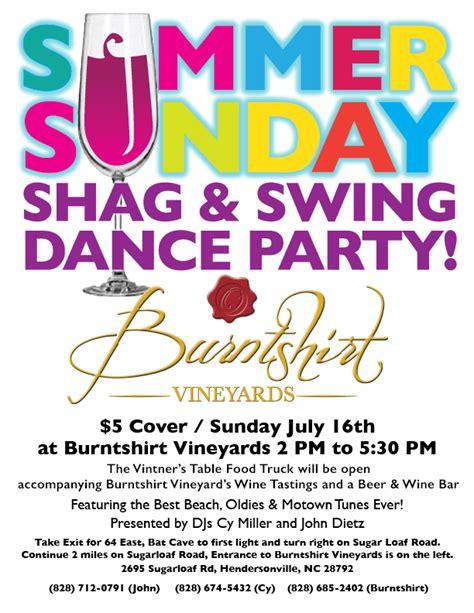 shag swing shag swing dance party burntshirt vineyards