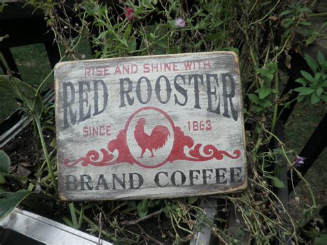 primitive country sign home decor wood sign rooster sign
