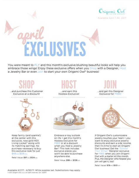 Origami Owl Monthly Specials - and fly into april 2017 exclusives origami owl