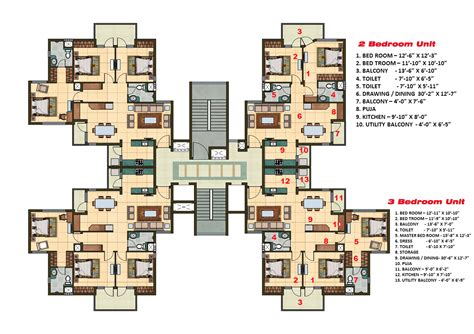 Floor Plan Software 2 and 3 bhk apartment cluster tower layout plan n design