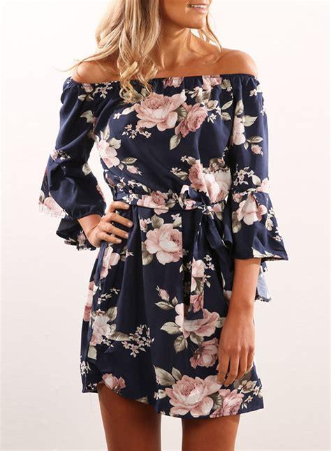 Sleeve Print Mini Dress s fashion shoulder 3 4 sleeve floral print mini