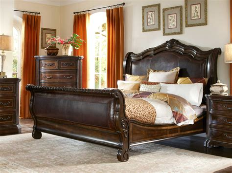 valencia traditional genuine leather upholstered sleigh a r t furniture valencia dark oak queen size sleigh bed