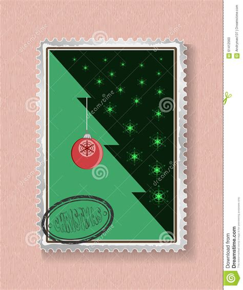 new year card postage conceptual tree on and new year stock