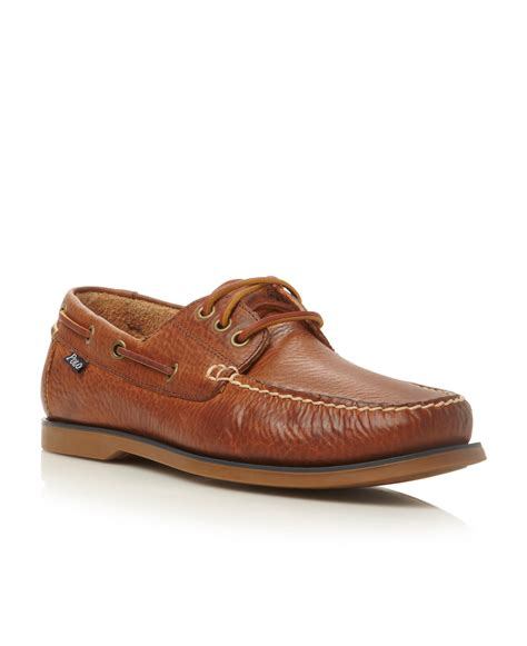 boat house shoes polo ralph lauren bienne lace up tumbled leather boat shoes in brown for men lyst