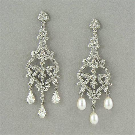 Bridal Chandelier Earrings With Pearls Pearl Chandelier Earrings Image Search Results