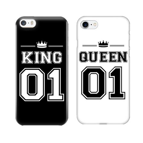 king  queen  couple phone case  iphone   cute matching hard pc phone bags covers