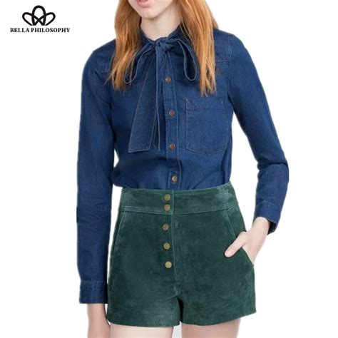 Collar Shirt With Bow Tie Blue 2016 autumn winter blue denim bow tie collar sleeve blouse shirt in blouses shirts