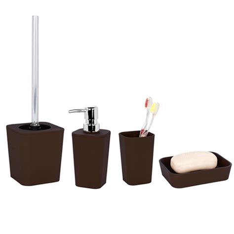 wenko rainbow ceramic bathroom accessories set brown at