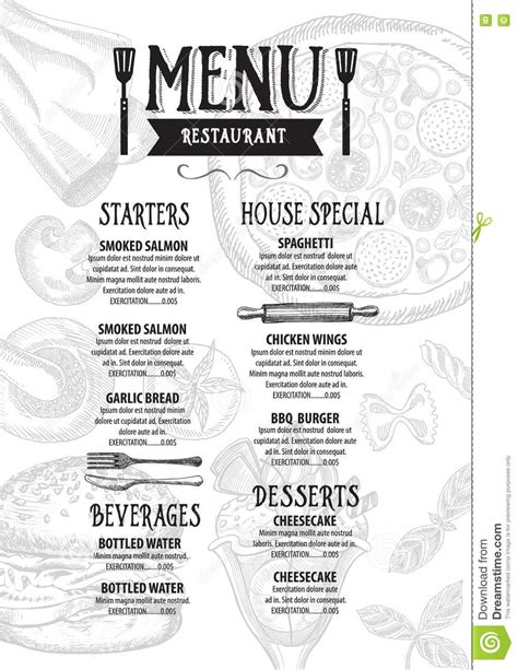 Menu Cafe Restaurant Template Placemat Food Board Design Stock Illustration Image 76450803 Placemat Menu Templates