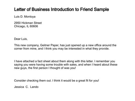 Introduction Letter For Friend letter of business introduction