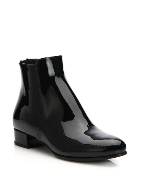 prada patent leather flat ankle boots in black lyst