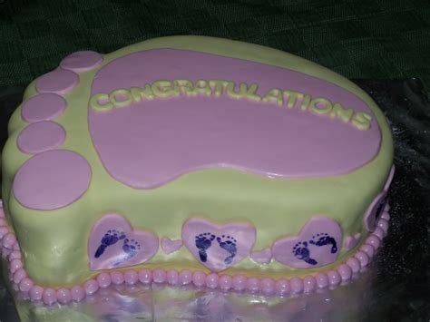 Footprint Baby Shower Cakes by Footprints Hearts Baby Shower Cake Photo By