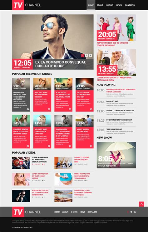 channel design template tv channel responsive website template 50750