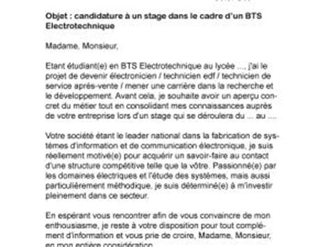 Demande De Bts Lettre De Motivation Lettre De Motivation Stage Bts Electrotechnique Par