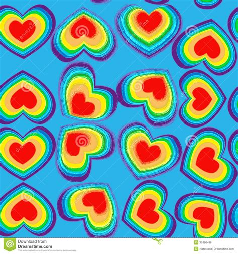 heart pattern rainbow rainbow hearts seamless pattern royalty free stock photos