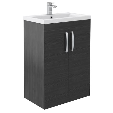 Black Bathroom Vanity Units Floor Standing 2 Door Vanity Unit Hacienda Black 600mm