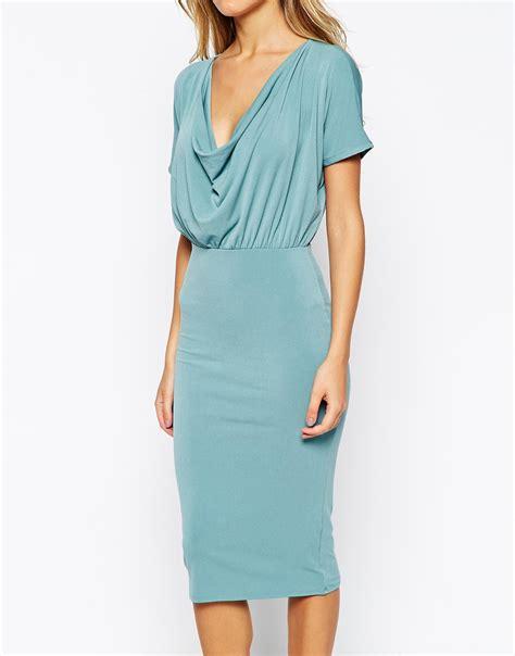 cowl drape dress asos bodycon crepe dress with drape cowl neck in blue lyst