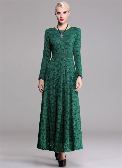 Rm Maxi sleeve green lace maxi dress with contrast colored lining rm robeplus