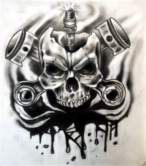 skull and piston tattoos skull pistons and spark tattoo design for covering a small