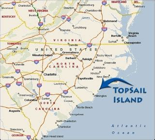 topsail island carolina map image allenontravel