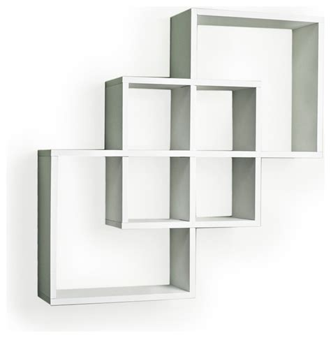 intersecting squares decorative wall shelf white