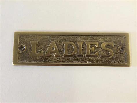 bathroom door signs vintage gentlemen ladies toilet bathroom door sign plaque screws brass antique nickel ebay