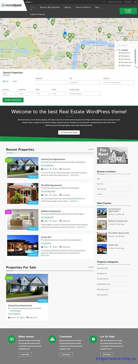 templatic home quest real estate directory theme