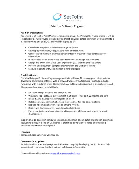 Software Engineering Manager Description by Systems Engineer Description Electrical Engineer Description Pdf Resume Templates