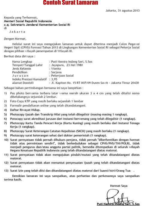 Format Surat Lamaran Cpns Kejaksaan Agung by 13 Surat Lamaran Kerja Cpns 2015 Ben