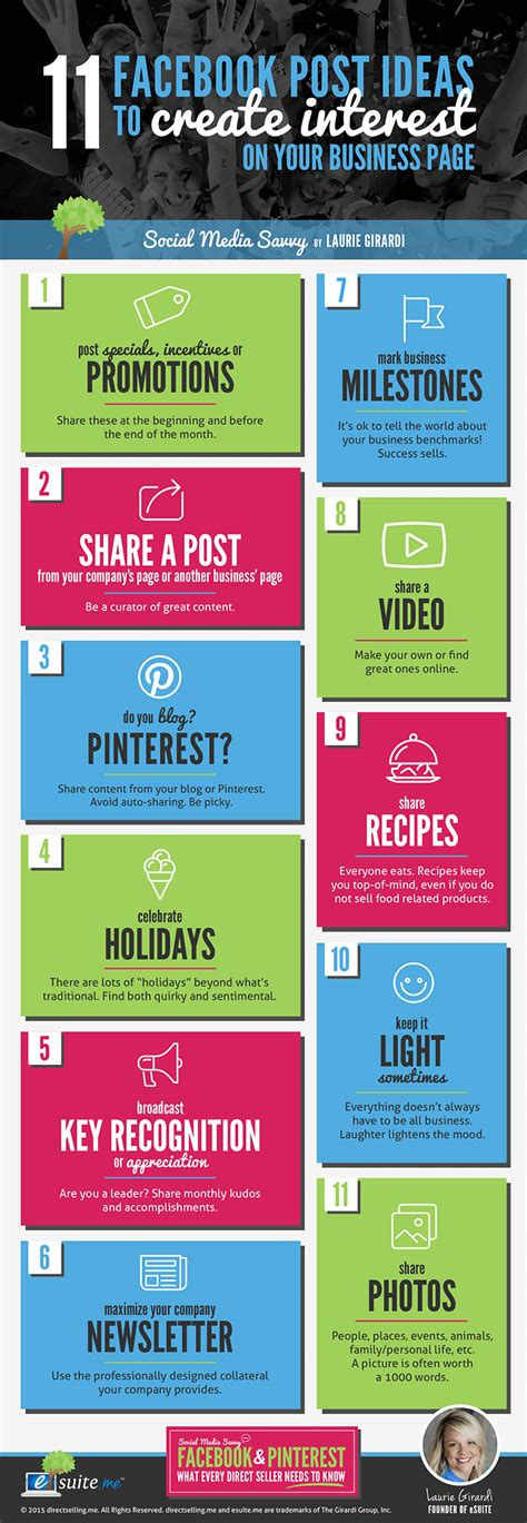 themes for facebook posts 30 facebook business page post ideas with laurie girardi