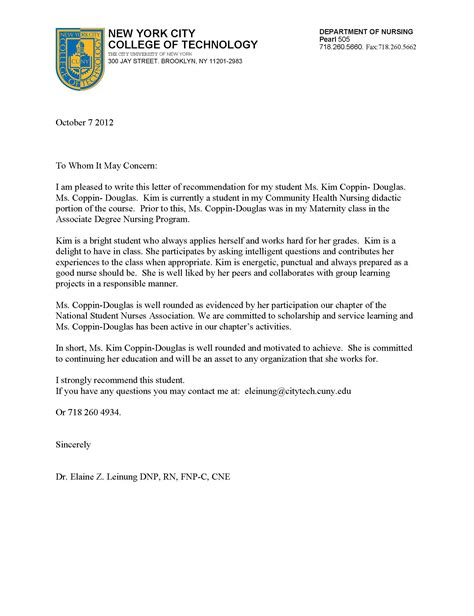Recommendation Letter For Technology New York City College Of Technology Coppin Douglas S Eportfolio