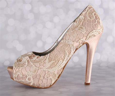 Lace Wedding Heels by Wedding Shoes Blush Wedding Shoes Lace Bridal Heels High