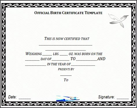 date of birth format templates 6 birth certificate templates sletemplatess sletemplatess