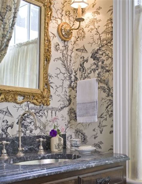 black and white toile wallpaper bathroom chinoiserie wallpaper gilded mirror and sconce