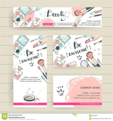 header card design template vector ready design template for makeup artist makeup