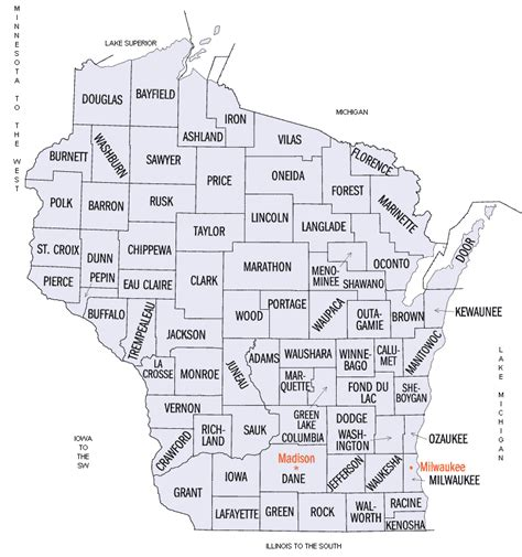 State Of Wisconsin Records Wisconsin County Map