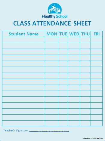 Attendance Sheet Template Word by Church Printable Template Calendar Template 2016
