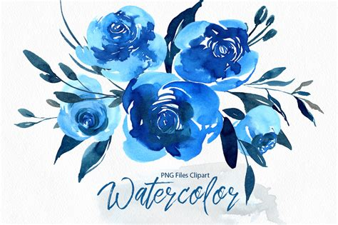 watercolor indigo blue roses flowers pn design bundles