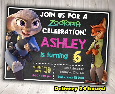 printable zootopia invitations zootopia invitation zootopia birthday decorationsleon